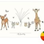Fingerafryk/fingerprints baby tøjsnor regnbue