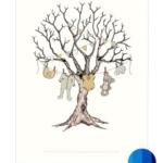 Fineraftryk/fingerprint barnedåbstræ blå
