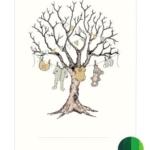 Fingeraftryk/fingerprint barnedåbstræ grønt
