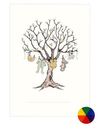 Fingeraftryk/fingerprint barnedåbstræ regnbuefarver