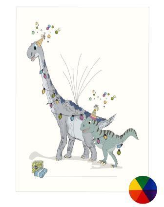 Fingeraftryk/fingerprint dino-party regnbuefarver